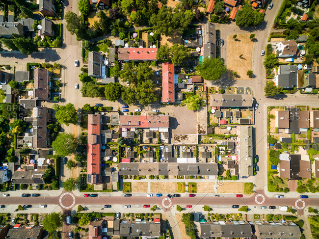 Aerial view of calm neighborhood area, Zutphen, Netherlands.