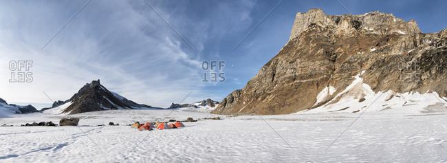 Greenland- Sermersooq- Kulusuk- Schweizerland Alps- tent camp in snow