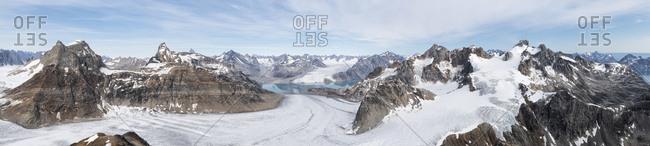 Greenland- Sermersooq- Kulusuk- Schweizerland Alps- mountainscape panorama