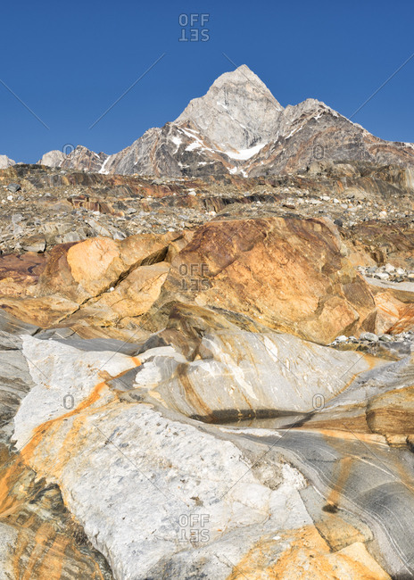 Greenland- Sermersooq- Kulusuk- Schweizerland Alps- mountains in sunlight
