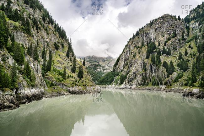 Switzerland- Valais- reservoir in the mountains