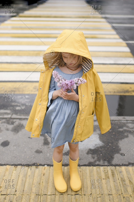 Girl wearing yellow rain jacket- standing on zebra crossing- holding lilac