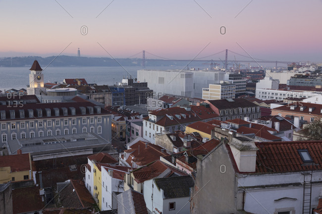 Portugal- Lisbon- View to Tagus River with Ponte 25 de Abril in the morning- seen from Baixa