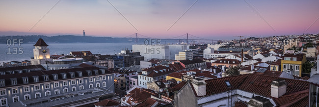 Portugal- Lisbon- View to Tagus River with 25 de Abril Bridge in the morning- seen from Baixa