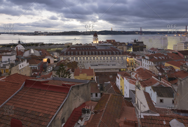 Portugal- Lisbon- View to Tagus River in the evening- seen from Baixa