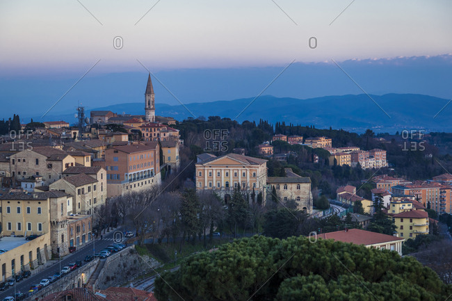 Italy- Umbria- Perugia- view of the city valley and its surrounding hills at sunset