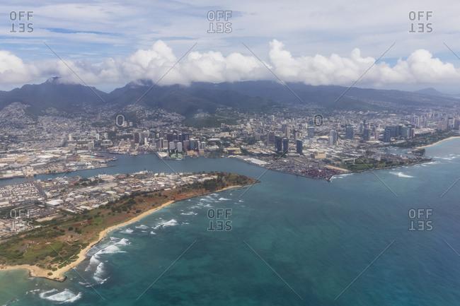 USA- Hawaii- Oahu- Honolulu- Waikiki Beach- Aerial View