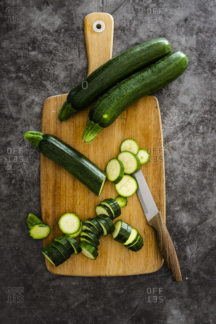 Zucchini on chopping board