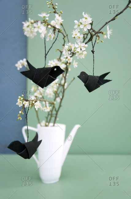 Easter decoration- Twig of sloe- leather cord folded as birds
