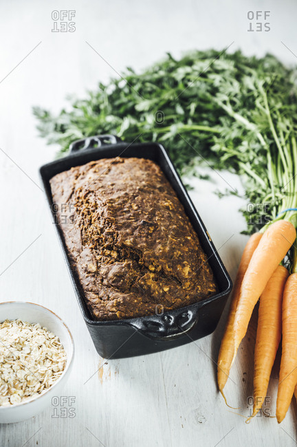 Swedish carrot bread 'Morotslimpa' with oats and dark syrup