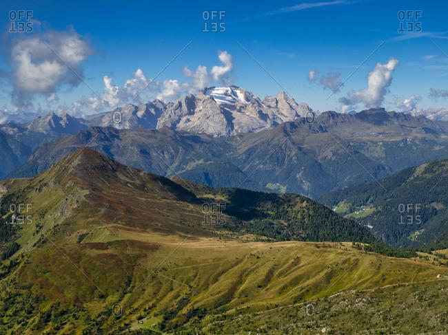 Italy- Veneto- Dolomites- Giau Pass- Marmolada from the top of mount Gusela