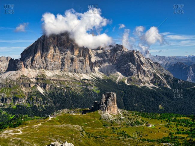 Italy- Veneto- Dolomites- Giau Pass- Cinque Torri and Tofana from the summit of Gusela