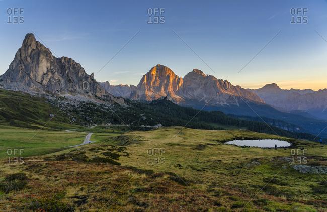 Italy- Veneto- Dolomites- Giau Pass- Croda del Becco- Tofana and Gusela at sunrise