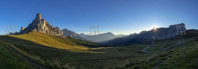 Italy- Veneto- Dolomites- Giau Pass- Gusela- Cristallo and Lastoi de Formin at sunrise