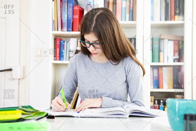 Girl doing homeworks