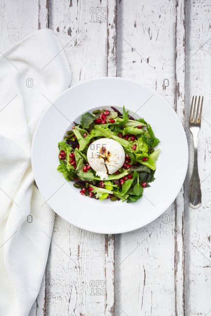 Oriental salad with mint- pistachios- pomegranate seeds and burrata