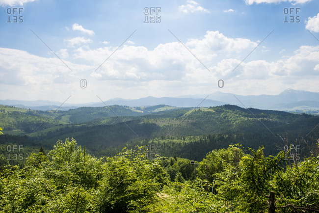 Ukraine- Overlook over Carpathian Mountains