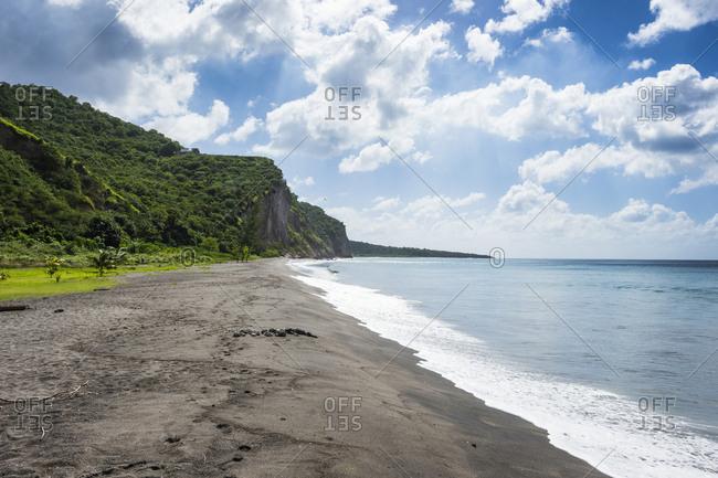 British Overseas Territory- Montserrat- Volcanic sand beach