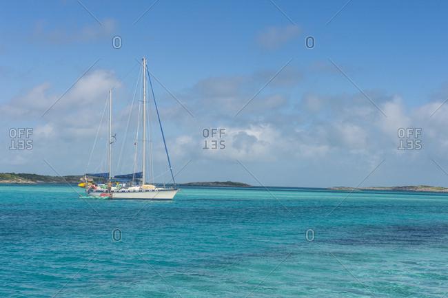 Caribbean- Bahamas- Exuma- sailing ship on the sea