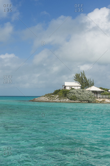 Caribbean- Bahamas- Exuma- little hotel on a caye in the turquoise waters