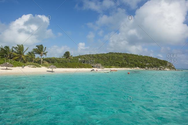 Caribbean- Bahamas- Exuma- turquoise waters and a white sand beach