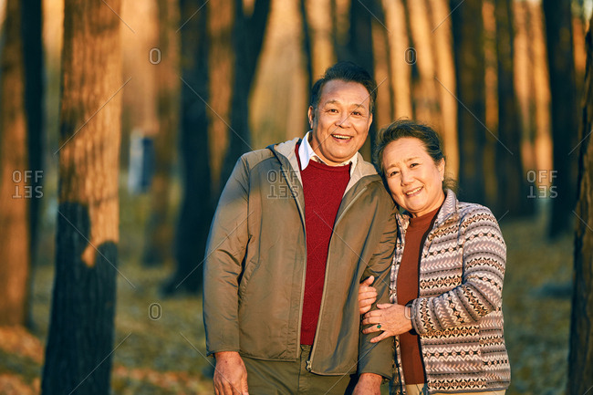 The elderly couple in the outdoor