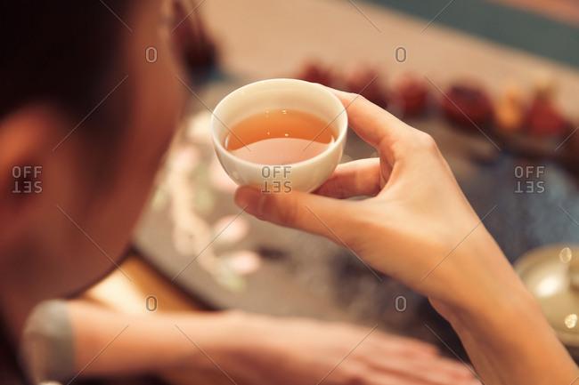 Young women drinking tea