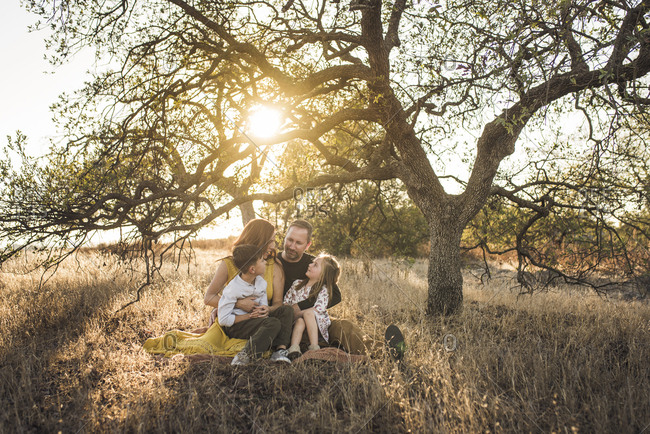 Young family looking at each other under tree in California field