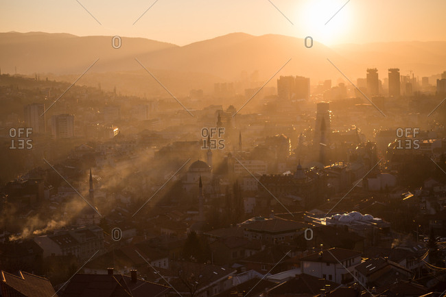 View of Sarajevo, Bosnia at sunset