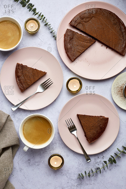 Kladdkaka Swedish Chocolate Cake 2 Plates