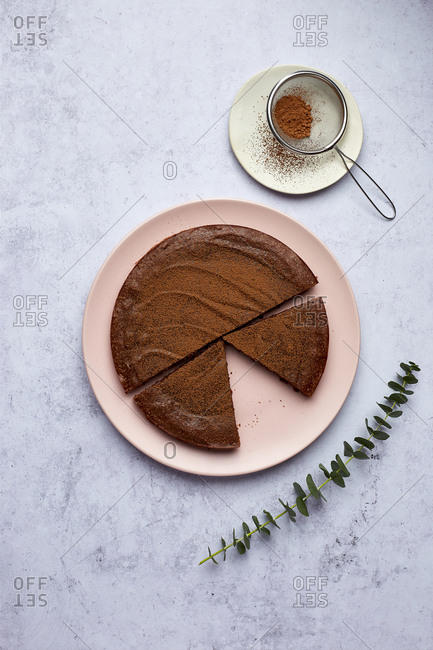 Sliced Kladdkaka Swedish Chocolate Cake with Cocoa Dusting w/ Eucalyptus decor