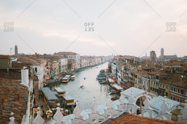 Venice, Italy - March 10, 2019: Aerial view of Canal Grande Venice, during dusk