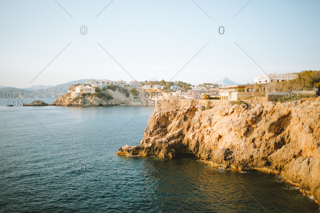 Mallorca, Spain - March 23, 2019: Amazing view of coastal town in Mallorca, Spain