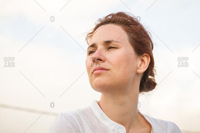 Female traveler looking away