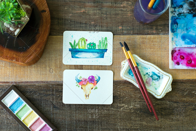 Mexican watercolor, cactus and cattle cow paintings.