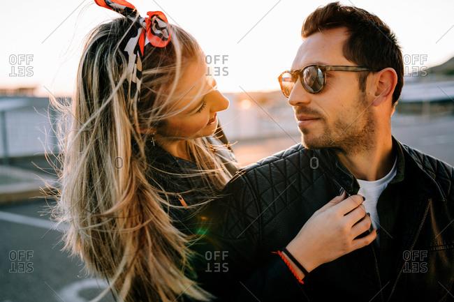 Happy couple on motorbike