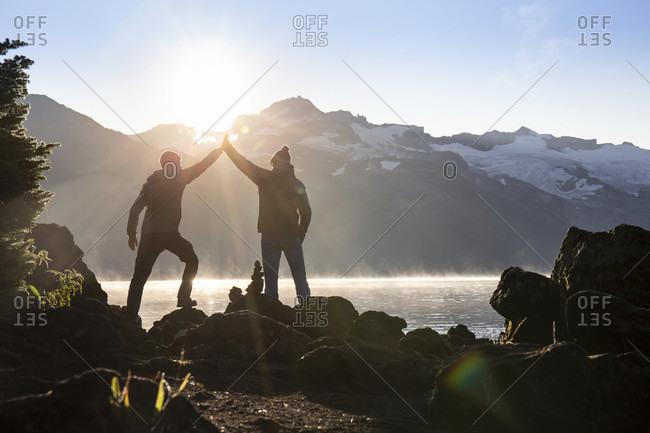 September 3, 2018: Canada, British Columbia, Garibaldi Provincial Park, two men at Lake Garibaldi