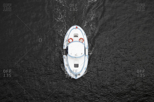 Canada, British Columbia, Vancouver, Falls Creek, boat seen from above