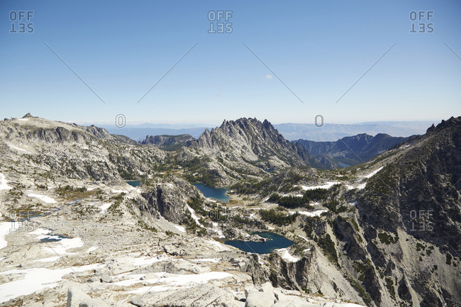 Mountains and lakes in remote landscape, Leavenworth, Washington, USA