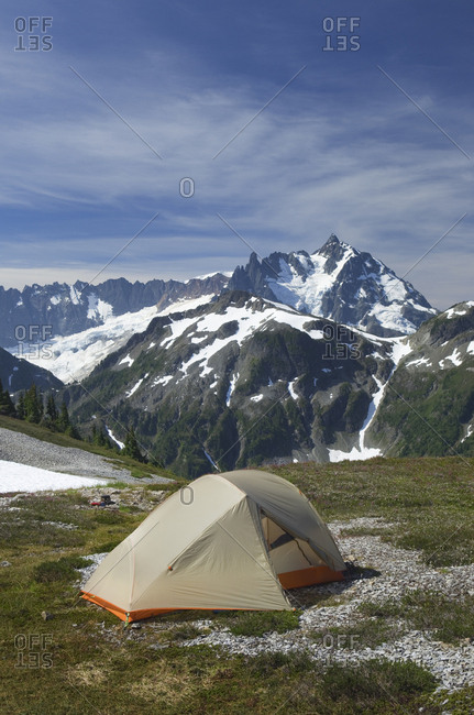 Tent at campsite in remote landscape, North Cascades, Washington, USA