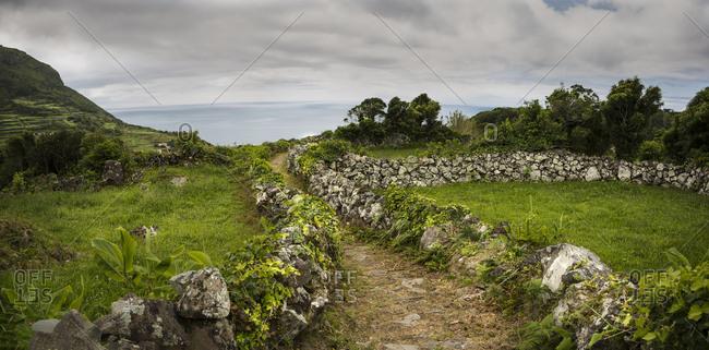 Dirt path through rural fields, Azore Islands, Flores, Portugal