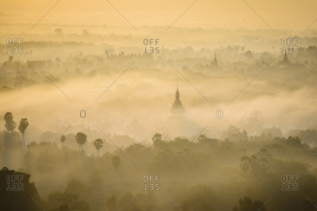 Aerial view of towers in misty landscape, Bagan, Myanmar