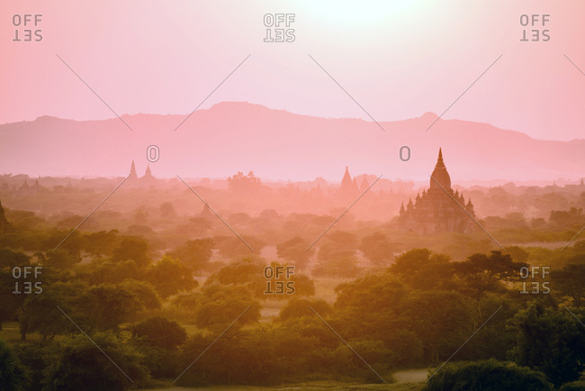 Towers in misty landscape, Bagan, Myanmar