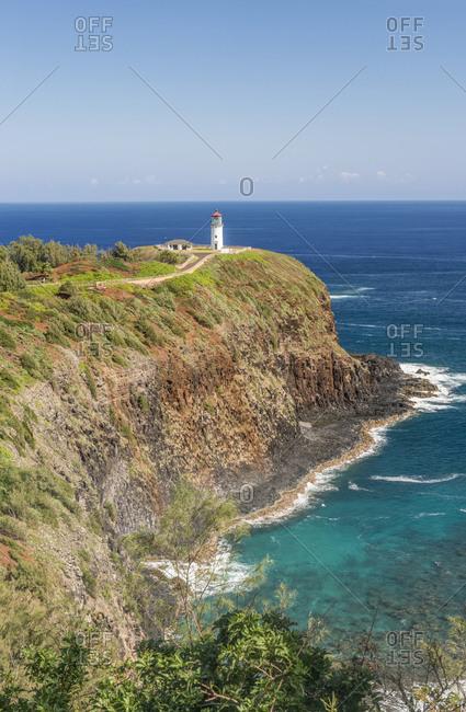 Kilauea Lighthouse on coastline, Hawaii, United States, USA