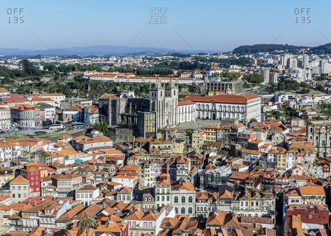 April 10, 2019: Aerial view of Porto cityscape, Porto, Portugal