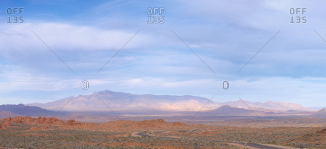 Clouds over mountain landscape, Moapa Valley, Nevada, USA