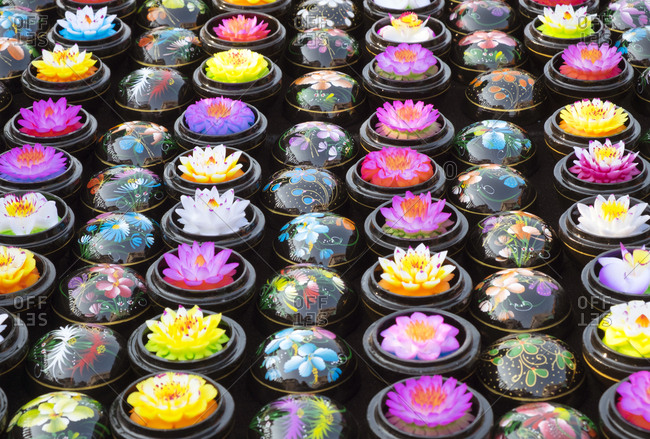 Carved soap lotus flowers in bowls, Chiang Mai, Thailand
