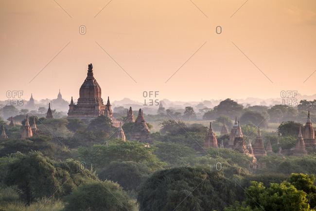 Pagodas in landscape, Yangon, Myanmar