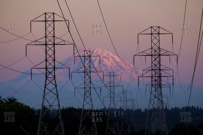 Electricity pylons near mountain landscape, Seattle, Washington, USA