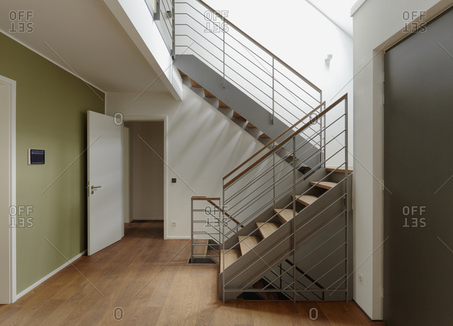 Plank floor and staircase in home, Dusseldorf, Germany
